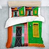 Set copripiumino, case caraibiche in vivaci combinazioni di colori a Isla Mujeres Messico America Latina foto, set trapunta per tutte le stagioni Coperta 3 pezzi