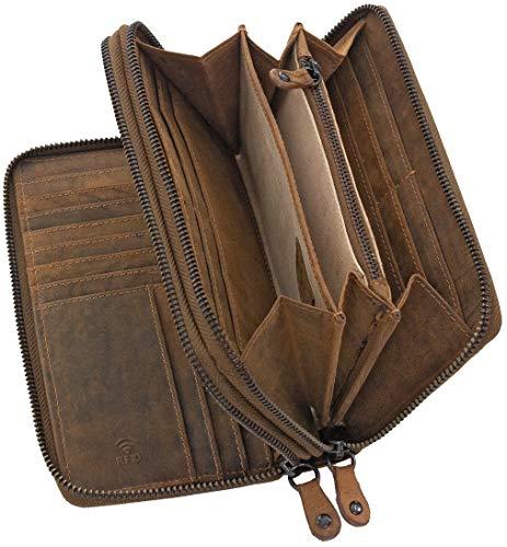 Ven Tomy Geldbörse Damen Herren groß viele Fächer Leder Portemonnaie Geldbörsen Portmonee braun RFID Blocker