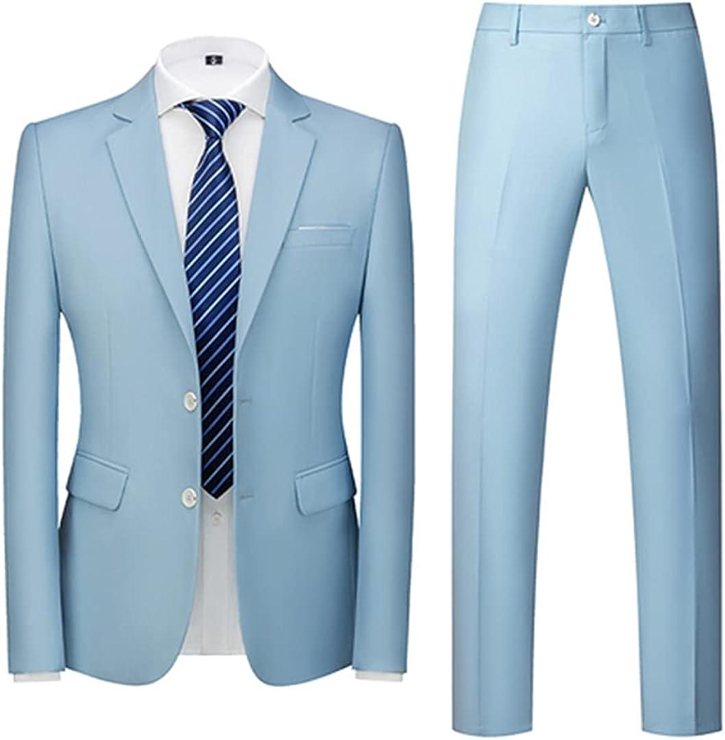 Autumn Men's Business Casual Solid Color Suits/Male Two Button Blazers Jacker Coat Trousers Sky Blue 3XL