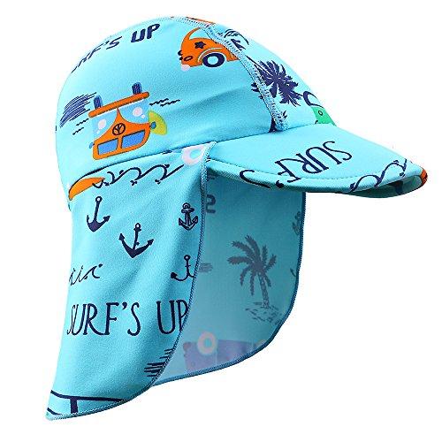 HUAANIUE Mütze Badekappe, Bademütze Sonnenhut Schwimmkappe mit UV-Schutz für Kinder 6-18month 4-6years