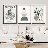 Arte de la lona pintura abstracta geométrica Matisse hoja planta cartel lienzo pintura pared arte impresión imagen sala de estar decoración del hogar 3x50x70cm sin marco