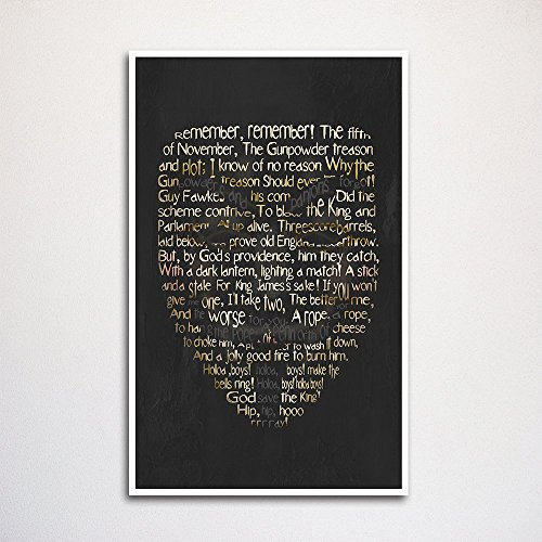 """Guy Fawkes word art print 11x17"""" unframed 