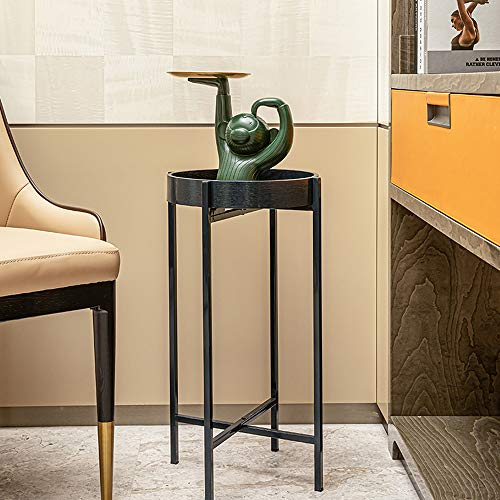HAWOO Round Side End Tables, Metal Small Sofa Table with Cross Base, Outdoor & Indoor Accent Coffee Table, for Living Room Bed Room,23.5'(H) x 13.25''(D),Navy