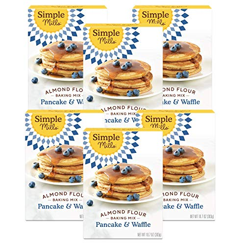 Simple Mills Almond Flour Pancake Mix & Waffle Mix, Gluten Free, Made with whole foods, 6 Count (Packaging May Vary)