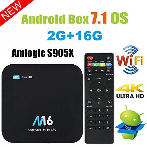 Viden Box TV Android 7.1Smart TV Box Amlogic S905X Quad Core 2 Go RAM 16 Go de Rom 4K x 2K UHD H.265 HDMI USB x...