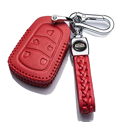 Hey Kaulor Genuine Leather For Cadillac 2000-2018 Escalade cts SRX xt5 ATS STS CT6 Smart Prox Remote Key fob Cover case Holder only for 5 Buttons