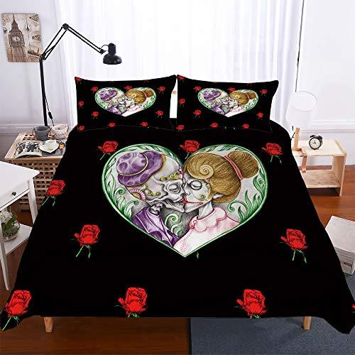 ZHYY Skulls Duvet Cover Sets 3D Sugar Skull Bedding Set for King with Pillowcase Queen Bed Bedline Bedroom Home Textile QQ10 (Color : #4, Size : US FULL-200 * 229CM)