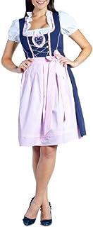 donnerlittchen! Mini-Dirndl Spatzl Blau/Rosa inklusive Bluse und Schürze Gr. 32-46 Trachtenkleid Tracht