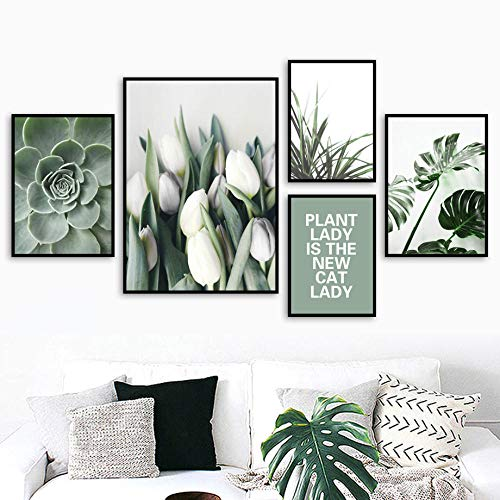 Naturaleza Planta Verde Citas Arte de Pared Lirio Monstera suculento Lienzo Pintura Estilo escandinavo Poster e Impresiones Sala de Estar Cuadros Moderna Decoracion del hogar