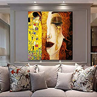 Faicai Art Gustav Klimt Golden Tears and Kiss Paintings Gold Wall Art Banksy Graffiti Canvas Prints Pop Art Home Decor Printed Pictures Famous Artwork Wall Decor Painting Framed Ready to Hang 32