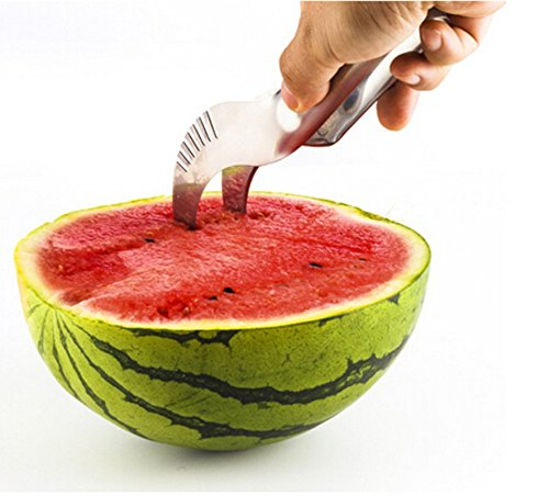The Mibia Watermelon Slicer, No Mess, No Stress, Neat And Easy With Juicy Slices Of Melon, Fruit Slicer Multi-Purpose Stainless Steel, Smart Kitchen Gadget, Dishwasher Safe Kitchen Tool