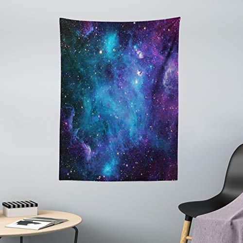 ABAKUHAUS Weltraum Wandteppich Galaxy Sterne im Weltraumaus Weiches Mikrofaser Stoff 110x150cm Klare Farben ohne verblassen Druck Navy Purple