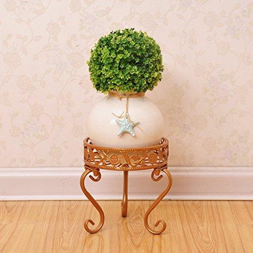 LWF Plante Pot de Fleurs Fer à Repasser avec Rack, Support de présentation Rond pour Plantes bonsaï Support pour Home Garden Patio Décor étagère Peut contenir Blanc/Noir/doré, doré, 28 * 24 * 28CM