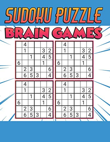Sudoku Puzzle Brain Games: 500 PUZZLES SUDOKU WITH SOLUTION - Ultimate Challenge Collection of Sudoku Problems - Best Sudoku Puzzle Book For Kids ( light blue )