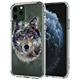 MOSNOVO iPhone 11 Pro Case, Wolf Pattern Clear Design Transparent Plastic Hard Back Case with TPU Bumper Protective Case Cover for Apple iPhone 11 Pro (2019)