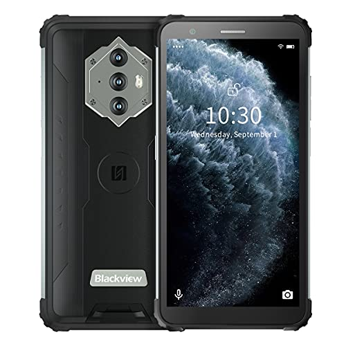 Blackview BV6600E Outdoor Smartphone Ohne Vertrag (2021) Android 11 Handy, 8580mAh Akku 5.7 Zoll HD+ 4GB RAM+32GB ROM/128GB Dual SIM 4G Mobiles 5MP+13MP wasserdichte Kamera IP68/Face ID (Schwarz)