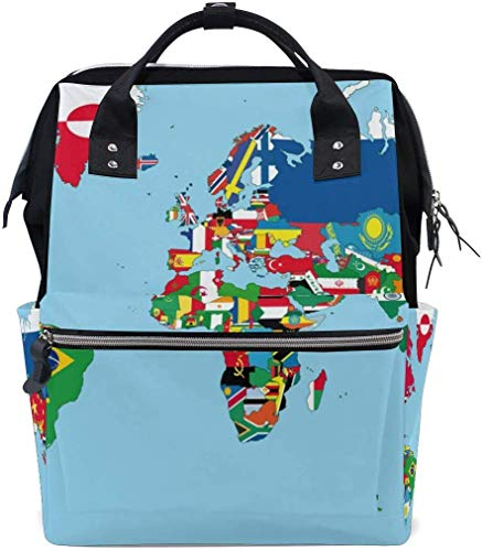 UUwant Sac à Dos à Couches pour Maman Large Capacity Diaper Backpack Travel Manager Baby Care Replacement Bag Nappy Bags Mummy Backpack The World Map and Flags School Bag