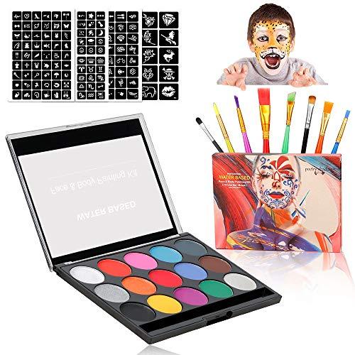 Komake Kinderschminke Set Gesichtsfarbe, Theaterschminke Palette 15 Farbe Waschbar Farben+169...