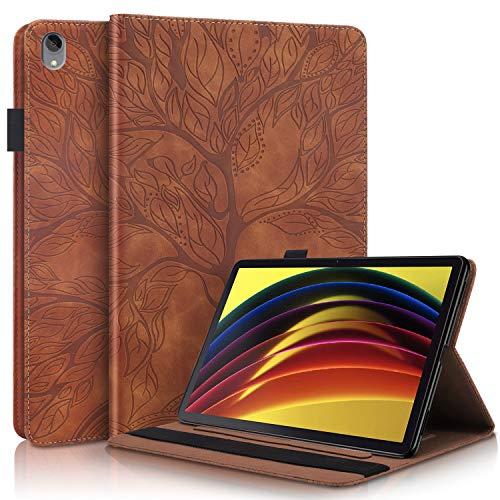 WHWOLF Funda para Lenovo Tab P11 Carcasa TB-J606F (11') Tableta Hull Flip de Cuero PU Protectora Antichoque con Soporte Función de múltiples ángulos, Billetera-marrón
