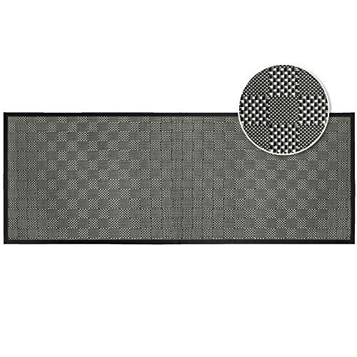 tapis déco tapis 45x120 cm pvc tisse simeo noir