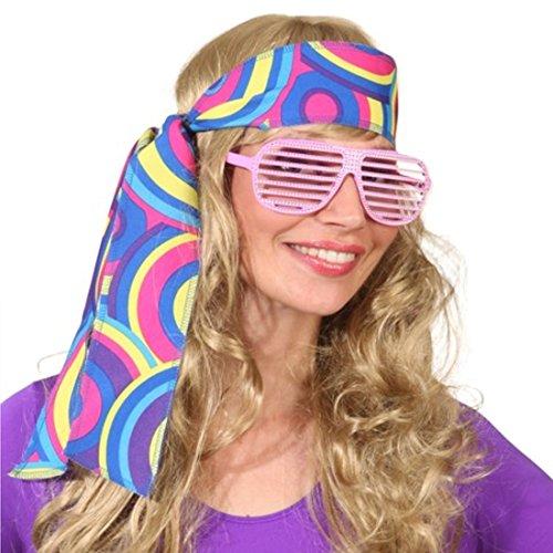 Amakando Fascia per capelli Hippie anni '60, con motivo floreale blu, anni '70, per costume di Carnevale