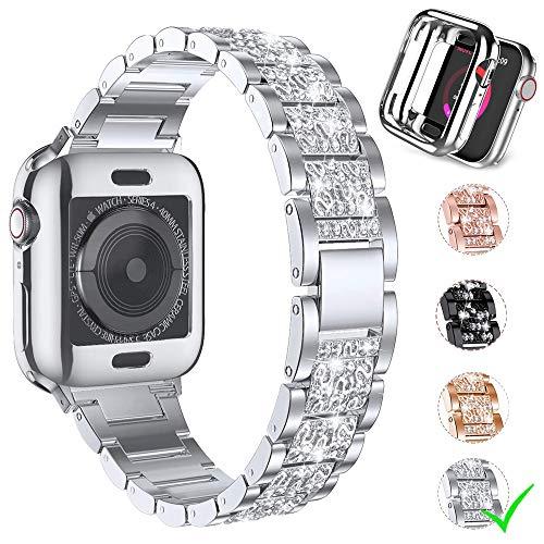 Firsteit Pulseira de reposição para Apple Watch Series 6 de 42 mm com capa, pulseira de metal de aço inoxidável com strass de diamante para mulheres Série 6 5 4 3 2 1 SE (prata, 42 mm)