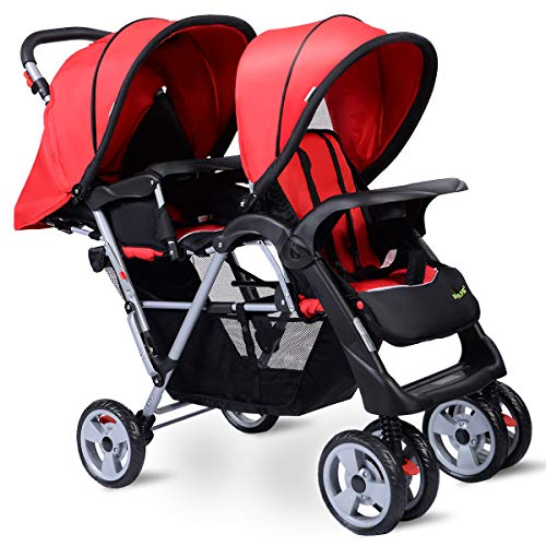 HOMGX Lightweight Double Stroller with Tandem Seating, Easy Folding Stroller for Toddlers or Twins with Multiple Seating Options, Includes Large Storage Basket, Two Child Trays (red)