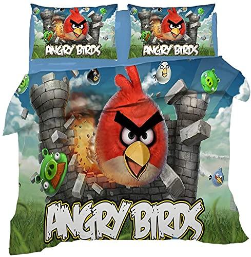 Juego de cama infantil Angry Birds con diseño de Angry Birds, 1 funda nórdica y 2 fundas de almohada, impresión 3D, 135 x 200 cm (Angry Birds2, 200 x 200 cm + 80 x 80 cm x 2)