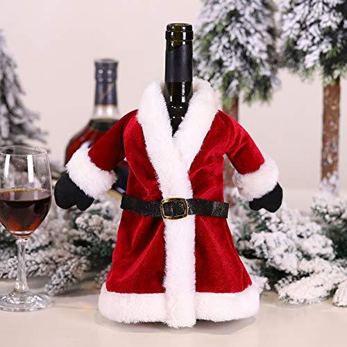 GSDJU 1 Stück Kleidung für Flaschenverschluss Wein Weihnachten Dekorationen auf dem Tisch für Besteck Neujahrsdekor Weihnachtswein Taschen Modern