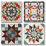 Barn Quilts Assorted Image Coaster Set 4 Pack Made in The USA
