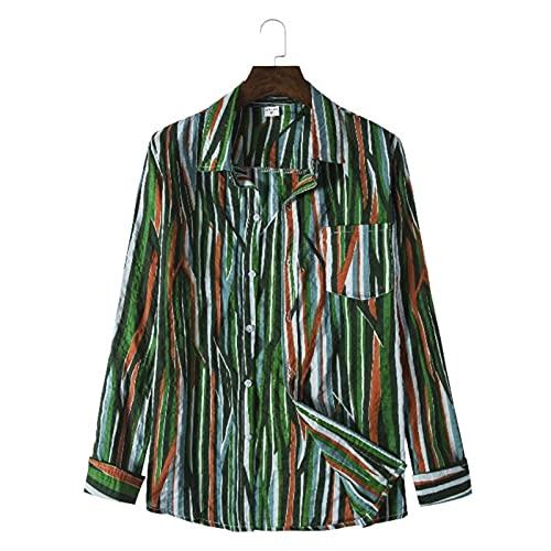 Hawaiian Shirts for Men, Long Sleeve Button Down Tropical Beach Shirts, Floral Print Men's Summer