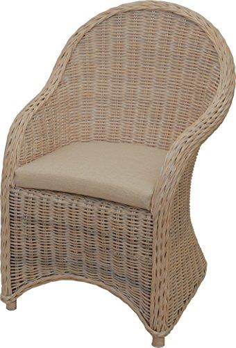 Korb-Outlet Esszimmer-Sessel Modern Alt-Weiß Korbsessel Natur-Rattan Esszimmerstuhl Rattanstuhl Korbstuhl mit Armlehne