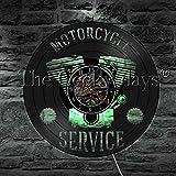 CVG 1 Pieza Servicio de Motocicleta Cartel Comercial Lámpara de Mesa LED Taller de reparación de Motocicletas Disco de Vinilo Reloj de Pared Decoración de Garaje Lámpara de sueño
