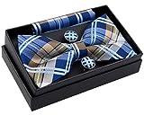 Retreez Herren Gewebte vorgebundene Fliege Elegante Tartan Plaid Karo 13 cm und Einstecktuch und Manschettenknöpfe im Set, Geschenkset, Weihnachtsgeschenke - marineblau und khaki