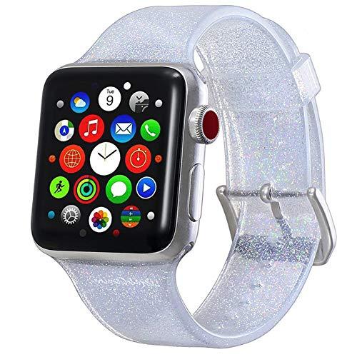 FeMereina Banda Deportiva Compatible Apple Watch Banda 38/40/42/44 mm Mujeres Hombres, Banda de Silicona Suave Unisex Glitter Bling Compatible iWatch Series 4/3/2/1