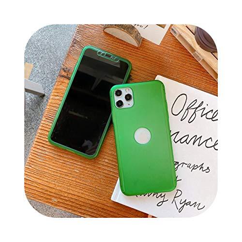 Funda de 360 grados para iPhone 11 Pro Max 7 8 Plus XR X XS Cubierta completa de policarbonato mate para iPhone 11 XS MAX 6 6S 5 SE-Verde-para iPhone 6 Plus