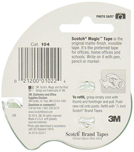 Scotch 104-12 3M Magic Tape (Pack of 12), 1/2 x 450 Inches Photo #2