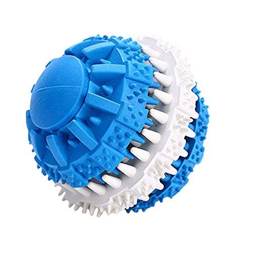 Yowablo Haustier-Hunde, die Gummi kauen, spielt runden Ball für beißende molare saubere Zähne (7.5cm,2Blau)