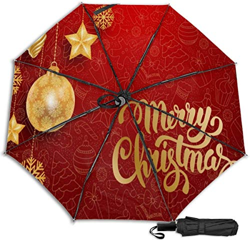 Paraguas de viaje resistente al viento con protección UV (decoraciones navideñas sobre fondo rojo)