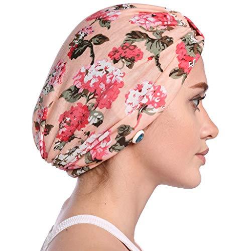 Planuuik Pastoral Style vrouwen Elastische katoen turban hoed bloemen luipaardpatroon moslim beanie chemo wrap cap plissé knopen front slaaphoes