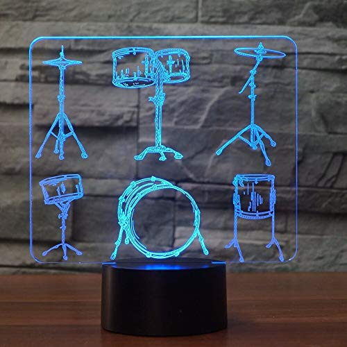 WisdomMi Children's Lighting Night Stand Lamp Creative Drum Set 3D Table Lamp 7 Color Change Remote Touch Switch Led 3D Night Light Musical Instruments Fans Best Gift Remote Control 16 Colors
