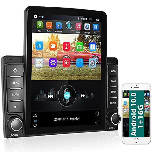 podofo 9,5 Inch Android 10.0 GPS Autoradio Stereo Touchscreen Verticale, 2 Din Lettore per Auto Audio con Bluetooth WiFi Radio FM Collegamento Specchio Android IOS Ingresso USB + Telecamera Backup