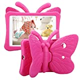 Tading iPad 9th 8th 7th Generation Case Kids Girls, Cute Butterfly Shockproof EVA Foam Super Protection Stand Cover for iPad 2021 2020 2019 10.2' and iPad Air 3 Pro 10.5' - Rose