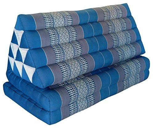 Wifash Coussin Thailandais Triangle XXL avec Assise 2 Plis, détente, Matelas, kapok, Fauteuil, canapé, Jardin, Plage Bleu/Gris (81917)