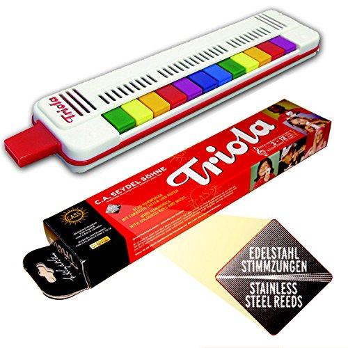 Seydel TRIOLA 12 - Neue AUSFÜHRUNG: bewährte, haltbare Edelstahl-STIMMZUNGEN !- das Blasinstrument für Kinder mit Spielanleitung + 3 Kinderliedern mit bunten Noten zum Schnelleinstieg