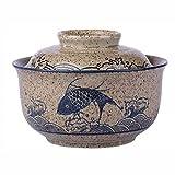 OMKMNOE Concha de Postre Copa de Huevo al Vapor, Chic Robusto de cerámica Estilo japonés Olla pequeño Freno de Cebolla de Cebolla con Tapa de Copa de Copa,Azul,S