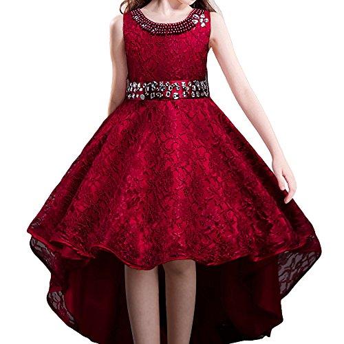 HUANQIUE Robe de Mariage Fille Princesse Demoiselle d'Honneur Robe à Queue d'aronde 5 Couleurs, Rouge Vineux, 11-12 Ans(étiquette 160)
