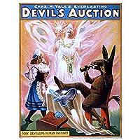 zkpzk ヴィンテージパフォーミングサーカスポスターチャス。H.エールの悪魔のオークション古典的なキャンバスの絵画壁のポスターアートワーク家の装飾ギフト-50X70Cmx1フレームなし