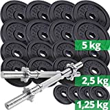 ScSPORTS 70 kg Hantelscheiben-Set Guss inkl. 2X Kurzhantel, 65 kg Gewichte (8X 5kg, 8X 2,5kg, 4X...