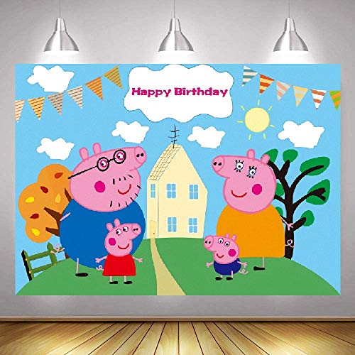 Peppa Pig Party Supplies Decorations Backdrop Banner for Photo Background Cartoon Peppa Pig and George Backdrop for Birthday Party Newborn Baby Shower Portrait Photo Backdrop Peppa Pig Birthday Banner